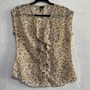 4/$25 Leopard Print Ruffled Sheer Blouse Small